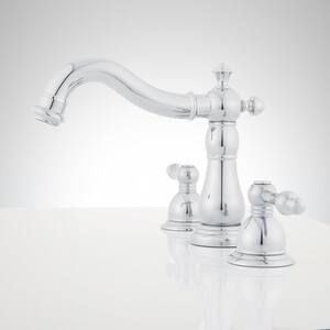 Signature Hardware Enid Two Handle Widespread Bathroom Sink Faucet in Polished Chrome SH357449