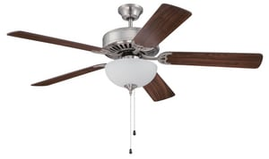 Craftmade International Pro Builder 207 63W Ceiling Fan with Light in Brushed Polished Nickel (Less Blade) CC207BNK