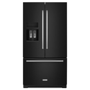 Kitchenaid 35-11/16 x 69-7/8 in. 26.8 cf Freestanding French Door Refrigerator with Exterior Ice and Water Dispenser in Black KKRFF507H
