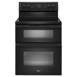 Whirlpool 29-15/16 in. 6.7 cf 5-Burner Self-Cleaning Freestanding Double Oven Electric Range in Black WWGE555S0BB
