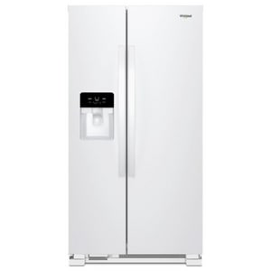 Whirlpool 35-7/8 x 69-5/8 in. 24.55 cf Freestanding Side-By-Side Refrigerator in White WWRS335SDHW