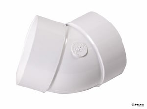 NDS 4 in. Solvent Weld and Drain Straight PVC 45 Degree Elbow with 1/8 Degree Bend N4P03
