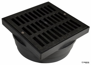 NDS 6 x 6 x 4 in. Adapter and Square Grate Black N640