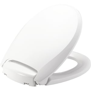 Bemis Radiance® Plastic Round Closed Front Heated Toilet Seat with Cover in White B900NL000