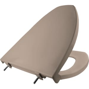 Church Seat Plastic Elongated Closed Front Toilet Seat in Beige BLC212068