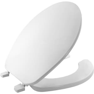 Bemis Plastic Round Open Front With Cover Toilet Seat in White B75000