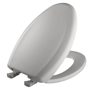 Bemis Elongated Closed Front Toilet Seat With Cover in Silver B1200SLOWT162