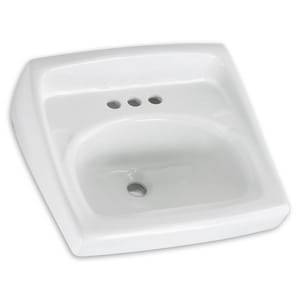 American Standard Lucerne™ 2-Hole Wall Mount Lavatory Sink in White A0355041020