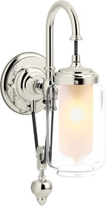 KOHLER Artifacts® 60W 1-Light Medium E-26 Wall Sconce in Vibrant Polished Nickel K72581-SN
