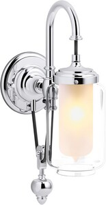 KOHLER Artifacts® 60W 1-Light Medium E-26 Wall Sconce in Polished Chrome K72581-CP