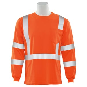 ERB Safety 2XL Size Long Sleeve Shirt in Hi-Viz Orange E62132