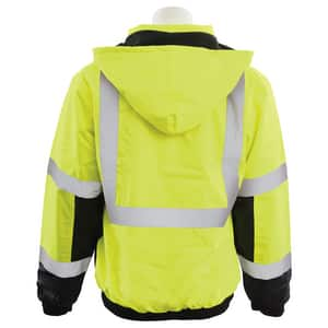 ERB Safety 2XL Size Tall Bomber Jacket in Hi-Viz Lime and Black E62168
