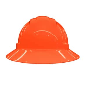 ERB Safety Americana® Vent Full Brim Safety Helmet with Mega Ratchet in Hi-Viz Orange E19437 at Pollardwater