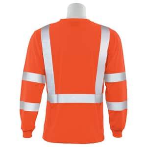 ERB Safety 2XL Size Long Sleeve Shirt in Hi-Viz Orange E62132