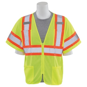 ERB Safety 3XL Size Class 3 Mesh Vest with Hook and Loop Closure in Hi-Viz Lime E62140