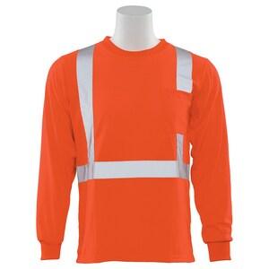 ERB Safety 2XL Size Class 2 Long Sleeve T-Shirt in Hi-Viz Orange ERB61802