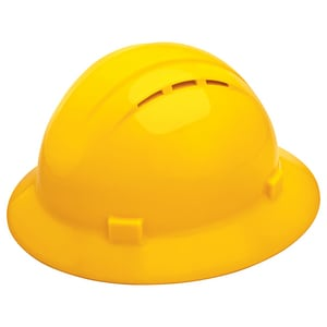 ERB Safety Americana Vent Full Brim Safety Helmet with Mega Ratchet in Yellow E19432 at Pollardwater