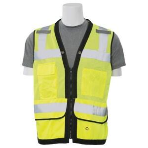 ERB Safety M Size Surveyor Vest with Tablet Pocket in Hi-Viz Lime E61231
