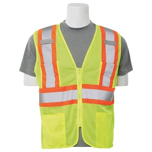 ERB Safety XL Size Mesh Safety Vest with Zipper Front Closure in Lime E618