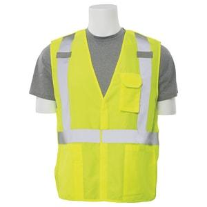 ERB Safety XL Size Multi-Pocket Break-Away Vest Lime Hook and Loop in Hi-Viz Lime E61377