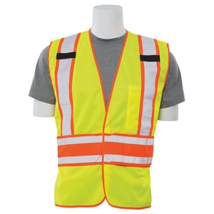 ERB Safety One Size Fits All Vest Mesh with Hoop & Loop Front Closure in Lime E61859