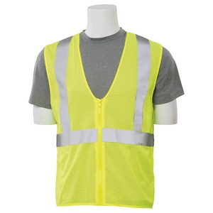 ERB Safety XL Size Economy Vest with Zipper in Hi-Viz Lime E61447