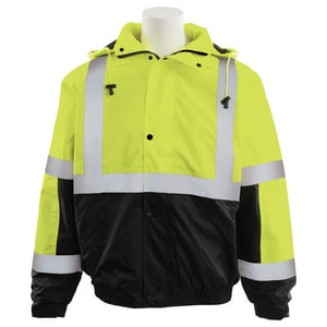ERB Safety XL Size Tall Bomber Jacket in Hi-Viz Lime and Black E62167