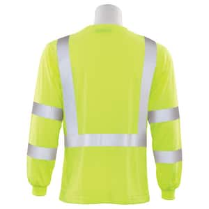 ERB Safety L Size Long Sleeve Shirt in Hi-Viz Lime E62123