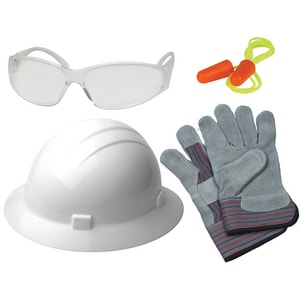 ERB Safety New Hire Kit Full Brim Hard hat with Clear Safety Glasses in White E18560