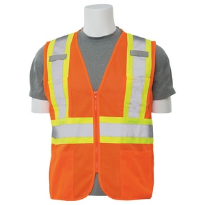 ERB Safety L Size High-Visibility Mesh Vest with Zipper Front Closure in Orange E61824