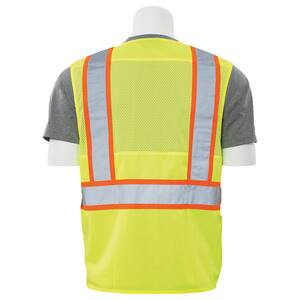 ERB Safety L Size Mesh Vest with Zipper in Lime and Orange E61832