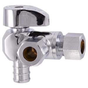 Sharkbite 1/2 x 3/8 in. Compression DZR Angle Supply Stop Valve in Polished Chrome S23066LF
