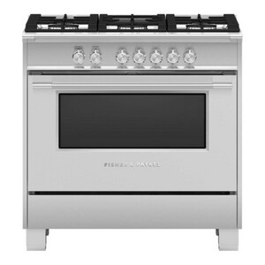 Fisher & Paykel Appliances Classic Style 36 in. 5-Burner Natural Gas Freestanding Range in Stainless Steel FOR36SCG4X1
