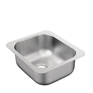 Moen 2000 Series 12 x 14 in. 20 ga 1-Bowl Undermount Kitchen Sink with Rear Drain in Stainless Steel MG204502B