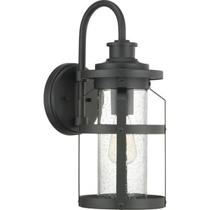 Progress Lighting Haslett 100W 1-Light Medium E-26 Incandescent Outdoor Wall Sconce in Black PP560095031