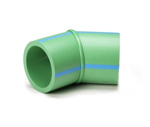 Aquatherm Greenpipe® 6 in. Female Straight and Long Radius DR 7.4 Fusiolen® PP-R and Polypropylene 45 Degree Elbow in Green A0112542