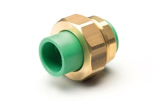 Aquatherm Greenpipe® 1-1/4 in. Straight SDR 6 Polypropylene Union with Brass Nut A01158
