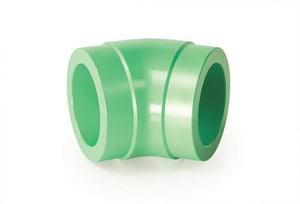 Aquatherm Greenpipe® 6 in. Butt Weld Straight DR 17.6 Plastic SD Molded 45 Degree Elbow in Green A8412530