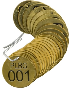 Brady Worldwide 1-1/2 in. Stamp Valve Tag in Brass 25 Pack B23260