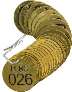 Brady Worldwide Valve Tag in Brass and Black 25 Pack B23261