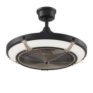 Fanimation Pickett Drum™ 24 in. 23W 120V 1050 cfm 3-Blade Ceiling Fan in Black with Brushed Nickel FFP6260BLBN
