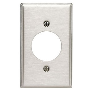 Leviton 1-Gang 430 Stainless Steel Power Receptacle Wall Plate for 88001 Traditional Leviton Device L84028