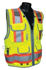Radians Radwear™ M Size 300D and Polyester Solid Front Safety Vest in Hi-Viz Green RSV552ZGDM at Pollardwater