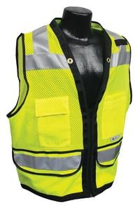 Radians Radwear™ M Size Polyester Grommet Safety Vest with Zipper Closure in Hi-Viz Green RSV59Z2ZGDM at Pollardwater