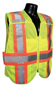 Radians Radwear™ M/L Size Polyester Adjustable Safety Vest in Hi-Viz Green RSV242ZGMML at Pollardwater