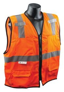 Radians Radwear™ S/M Size Polyester Safety Vest in Hi-Viz Orange RSV7E2ZOMSM at Pollardwater