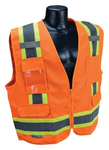 Radians Radwear™ L Size Twill and Polyester Surveyor Vest in Hi-Viz Orange RSV622ZOTL at Pollardwater