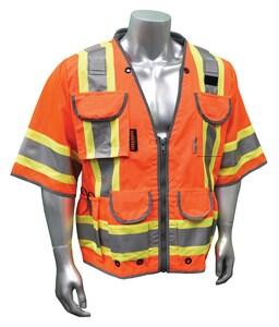 Radians Radwear™ L Size 300D and Polyester Safety Vest in Orange RSV553ZODL at Pollardwater