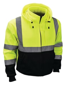 Radians Radwear™ L Size Polyester Sweatshirt with Zip Liner in Hi-Viz Green RSJ323ZGSL at Pollardwater
