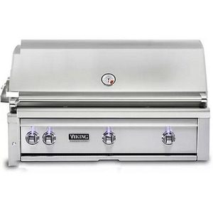 Viking Range Professional 5 Series 42 in. 3-Burner Outdoor Natural Gas Built-In Grill with LED Light in Stainless Steel VVQGI5420NSS